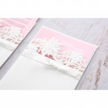 Classic White Laser Cut Floral Pocket engagement invite card