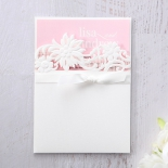 Classic White Laser Cut Floral Pocket engagement invitation card