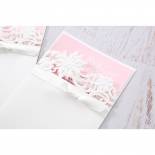 Classic White Laser Cut Floral Pocket engagement invite