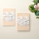 Classic White Laser Cut Sleeve engagement invite design