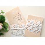 Classic White Laser Cut Sleeve engagement card design