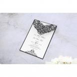 Elegance Encapsulated Laser cut Black engagement invite card