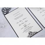 Elegance Encapsulated Laser cut Black engagement party invitation design