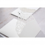 Elegant Crystal Lasercut Pocket engagement party invite card