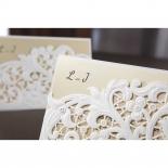 Embossed Floral Pocket engagement invitation design