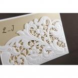Embossed Floral Pocket engagement party card design