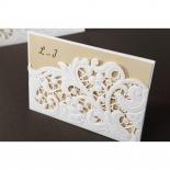 Embossed Floral Pocket engagement invitation card