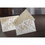 Embossed Floral Pocket engagement invite design