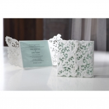 Embossed Gatefold Flowers engagement party card design