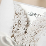 Enchanting Ivory Laser Cut Floral Wrap engagement party card