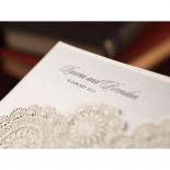 Rustic Lace Pocket engagement invitation card