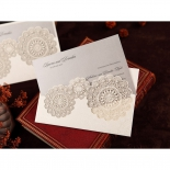 Rustic Lace Pocket engagement invite