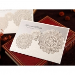 Rustic Lace Pocket engagement card