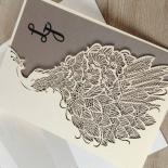 Striking Laser Cut Peacock engagement invitation design