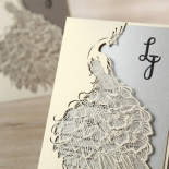 Striking Laser Cut Peacock engagement party card design