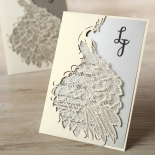 Striking Laser Cut Peacock engagement party invite card
