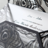 Stylish Laser cut Peacock Feather Black engagement party card