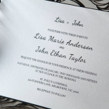 Stylish Laser cut Peacock Feather Black engagement invitation design
