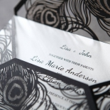Stylish Laser cut Peacock Feather Black engagement party card design