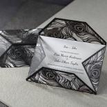 Stylish Laser cut Peacock Feather Black engagement invitation card