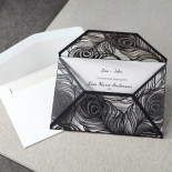 Stylish Laser cut Peacock Feather Black engagement party invite card