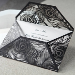 Stylish Laser cut Peacock Feather Black engagement party invite card design