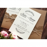 Country Lace Pocket engagement invite card