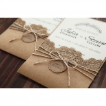 Country Lace Pocket engagement party card design