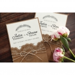 Country Lace Pocket engagement invitation card