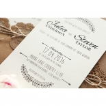 Country Lace Pocket engagement invite design