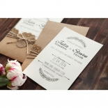 Country Lace Pocket engagement invitation card design