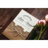 Country Lace Pocket engagement party invite card