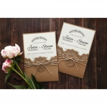 Country Lace Pocket engagement party invite card design