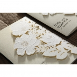Elegant Floral Laser Cut engagement invitation