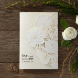 Elegant Floral Laser Cut engagement invite design