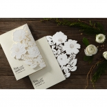 Elegant Floral Laser Cut engagement party invite