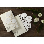 Elegant Floral Laser Cut engagement party invite design