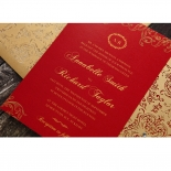 Golden Charisma engagement party invite card design
