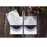 Jewelled Navy Half Pocket engagement party card