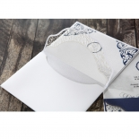 Jewelled Navy Half Pocket engagement party card design