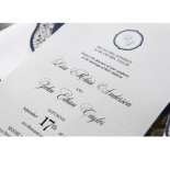 Jewelled Navy Half Pocket engagement party invite card design
