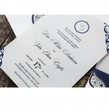 Jewelled Navy Half Pocket engagement party invite design