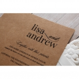 Rustic Laser Cut Pocket with Classic Bow engagement party card