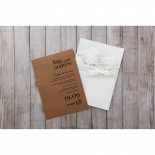 Rustic Laser Cut Pocket with Classic Bow engagement party invite card