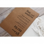 Rustic Laser Cut Pocket with Classic Bow engagement party invite card design