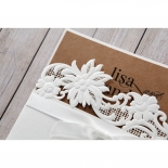 Rustic Laser Cut Pocket with Classic Bow engagement party invitation card