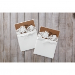 Rustic Laser Cut Pocket with Classic Bow engagement party invite
