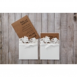 Rustic Laser Cut Pocket with Classic Bow engagement party invite design