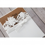 Rustic Laser Cut Pocket with Classic Bow engagement party invitation card design