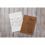 Rustic Romance Laser Cut Sleeve engagement party invite card design